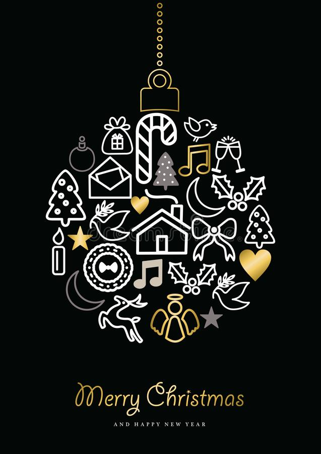 Jul och för symbolsstruntsak för nytt år guld- prydnad vektor illustrationer