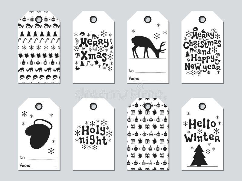Jul och gåvaetiketter för nytt år Kortxmas-uppsättning Hand drog beståndsdelar Samling av feriepappersetiketten i svart och royaltyfri illustrationer