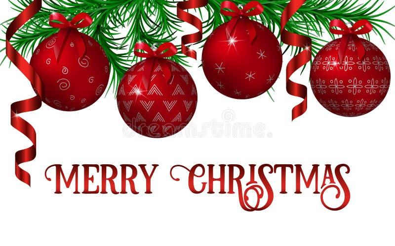 Jul och garneringmall för nytt år med girlanden för granträd, röda ornated metalliska skinande julbollar, krullade band stock illustrationer