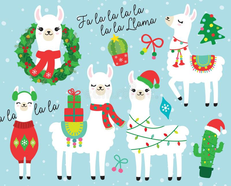 Jul och illustration för ferielama- och Alpacavektor stock illustrationer