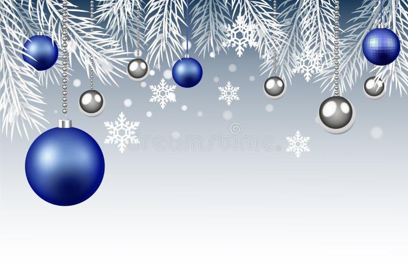 Jul och illustration för nytt år, sprusfilialer, blått och silver royaltyfri foto