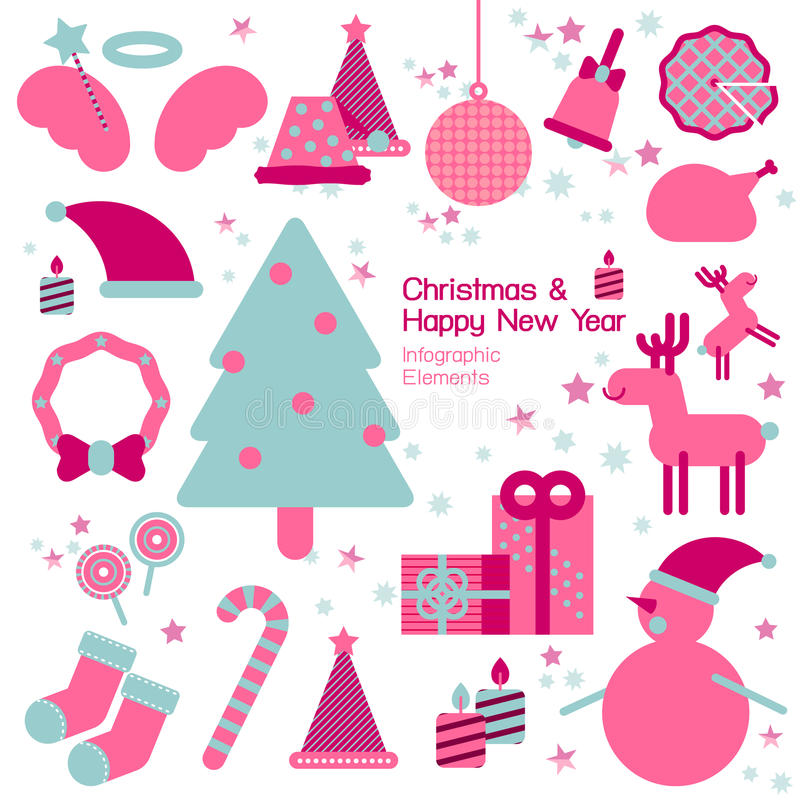 Jul och infographic beståndsdel för lyckligt nytt år royaltyfri illustrationer