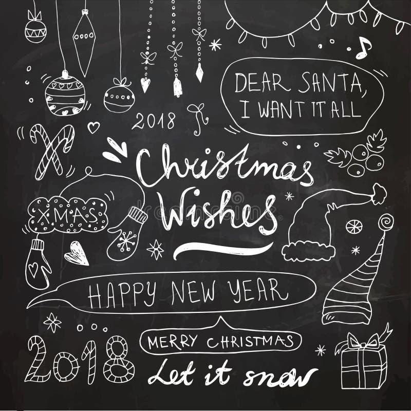 Jul och klotteruppsättning för nytt år royaltyfri bild