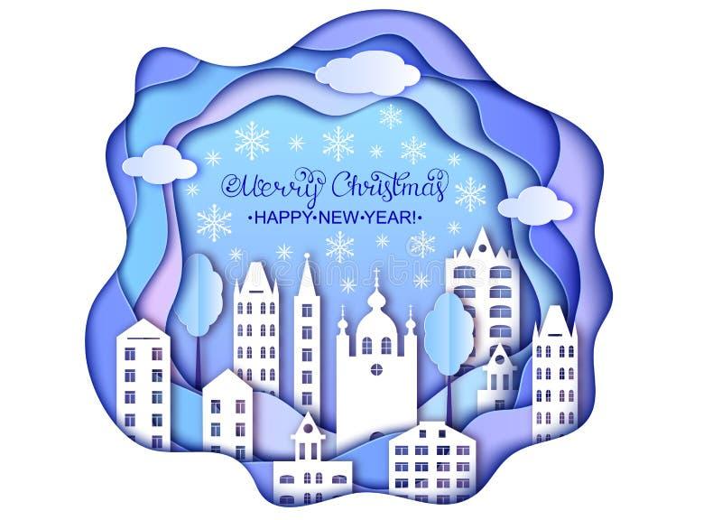 Jul och kort för lyckligt nytt år royaltyfri illustrationer