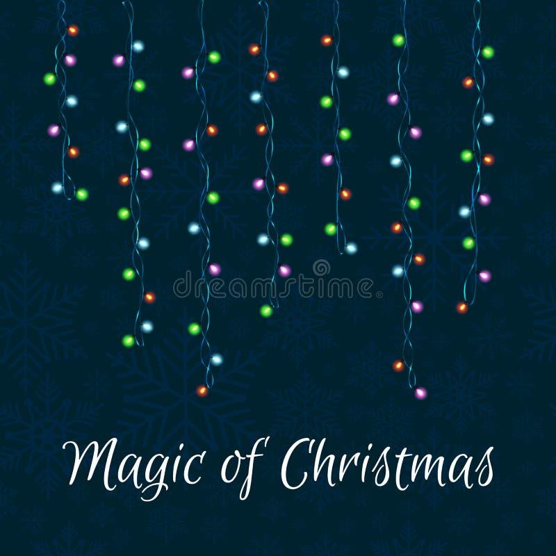 Jul och ljusgirland för nytt år på en mörk bakgrund stock illustrationer