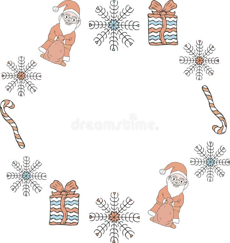 Jul och mall för nytt år Rund ram av Santa Clauses, snöflingor, gåvor, godisrottingar på en vit bakgrund royaltyfri illustrationer
