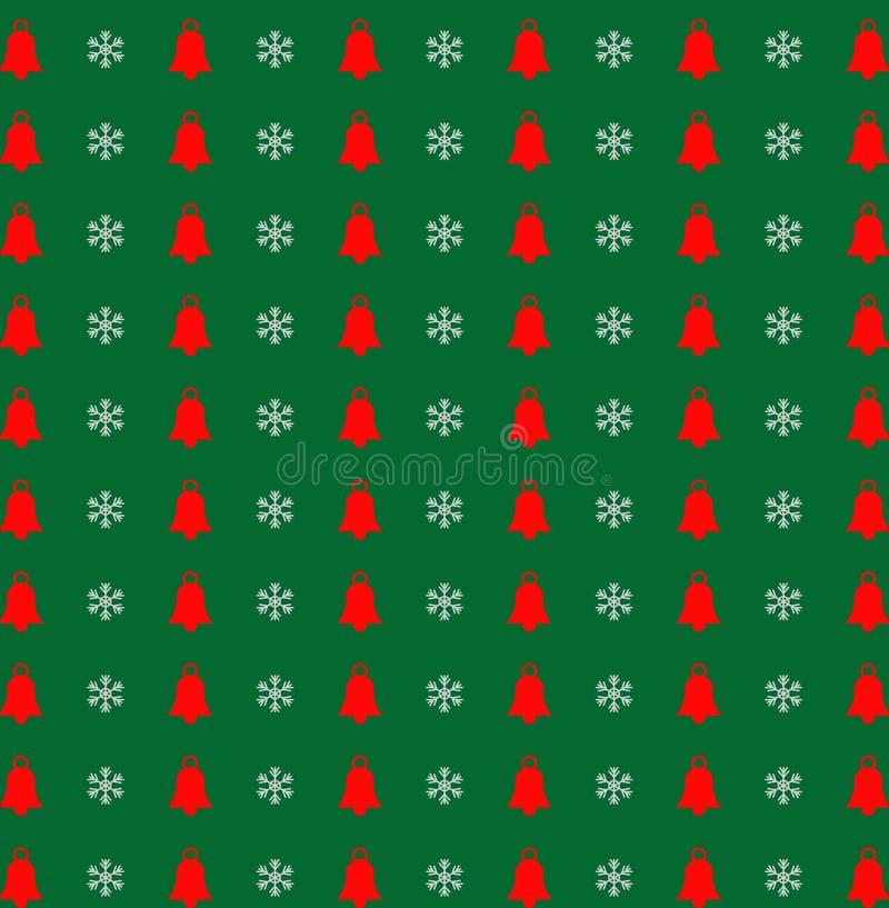 Jul och modell för nytt år med snöflingor och klockor på gree vektor illustrationer