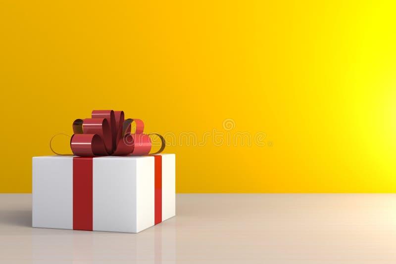 Jul och nyårsdagen, gåvaask med det röda bandet på trätabellen, vit gåvaask på gul bakgrund med utrymme royaltyfri fotografi