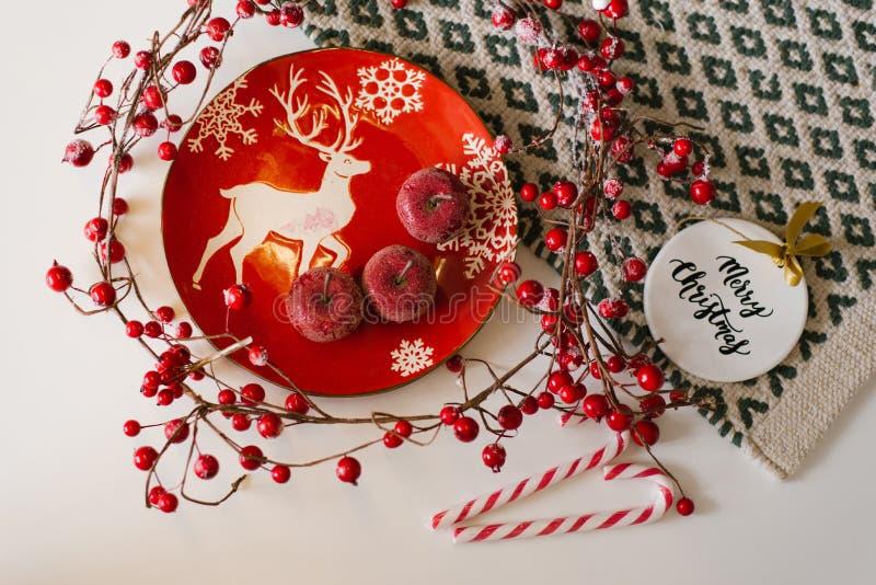 Jul- och nyårsplan Röd platta med ett foto av hjortar, röda äpplen, godis, julgransleksak och grenar med royaltyfri foto