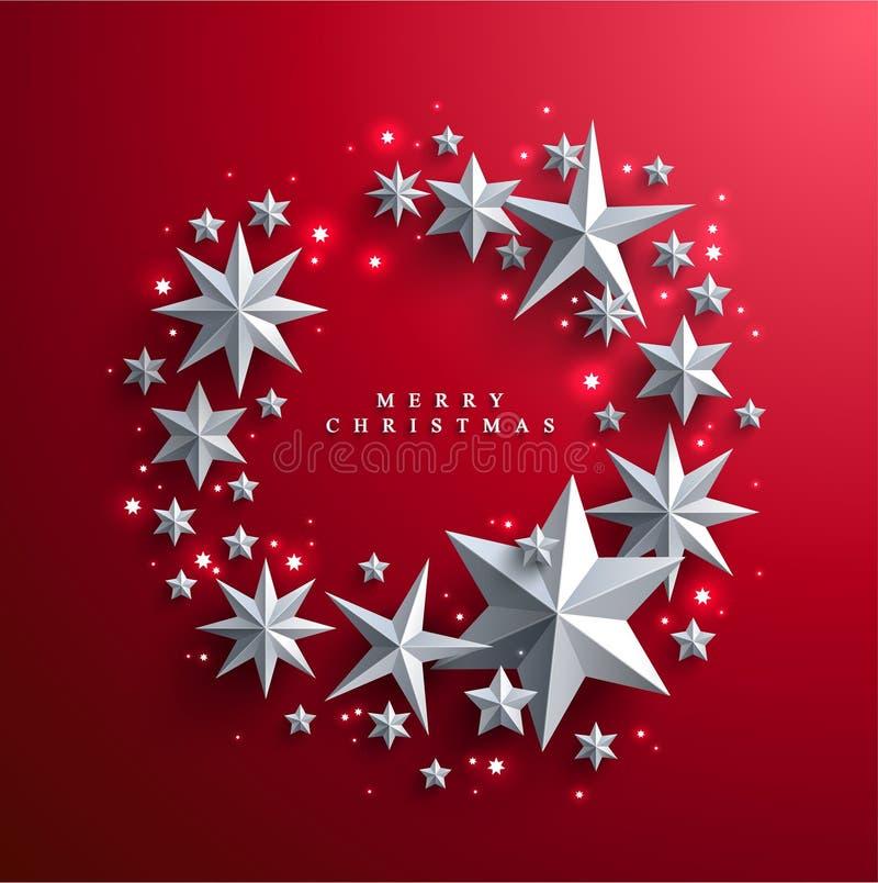 Jul och nya år röd bakgrund med ramen som göras av stjärnor stock illustrationer
