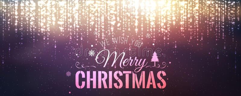 Jul och nytt år som är typografiska på bakgrund med att gristra, ljus, stjärnor stock illustrationer
