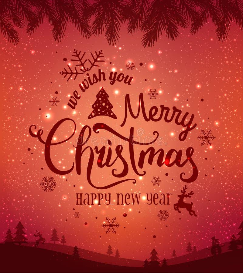 Jul och nytt år som är typografiska på bakgrund med vinterlandskapet med snöflingor, ljus, stjärnor vektor illustrationer