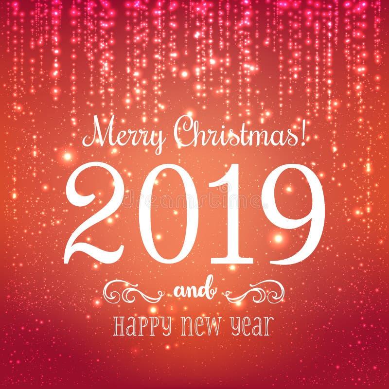 Jul 2019 och nytt år som är typografiska på blå bakgrund med det guld- fyrverkerit xmas för kortillustrationvektor också vektor f stock illustrationer