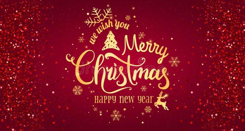 Jul och nytt år som är typografiska på röd bakgrund med det guld- fyrverkerit vektor illustrationer