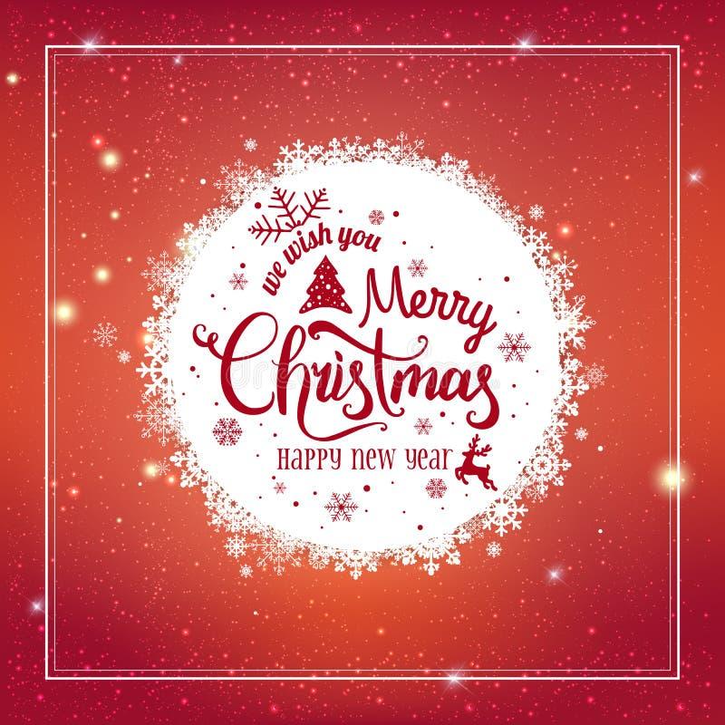 Jul och nytt år som är typografiska på skinande Xmas-bakgrund med snöflingor, ljus, stjärnor också vektor för coreldrawillustrati royaltyfri illustrationer