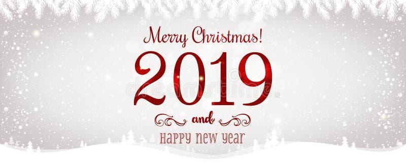 Jul och nytt år som är typografiska på skinande Xmas-bakgrund med vinterlandskapet med snöflingor, ljus, stjärnor stock illustrationer