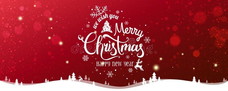 Jul och nytt år som är typografiska på snöig Xmas-bakgrund med vinterlandskapet med snöflingor, ljus, stjärnor stock illustrationer