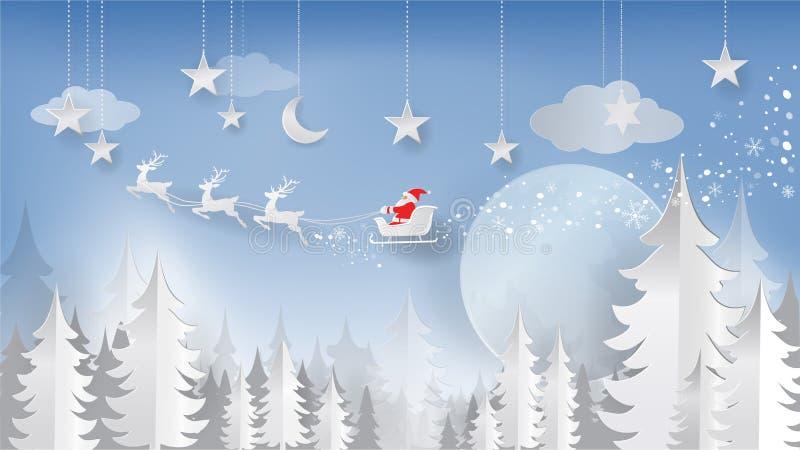 Jul och papperssnitt för nytt år, pappers- Art Style Santa Claus stock illustrationer