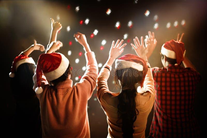 Jul och partiberöm för nytt år Folket och ferie lurar arkivfoton