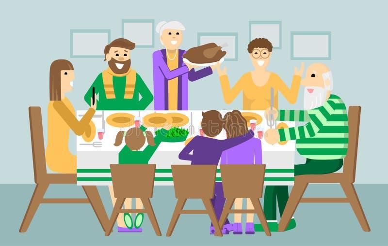 Jul- och tacksägelsefamiljmatställe Tacksägelsedagkalkon på tabellen Feriehelgillustration för affisch royaltyfri illustrationer