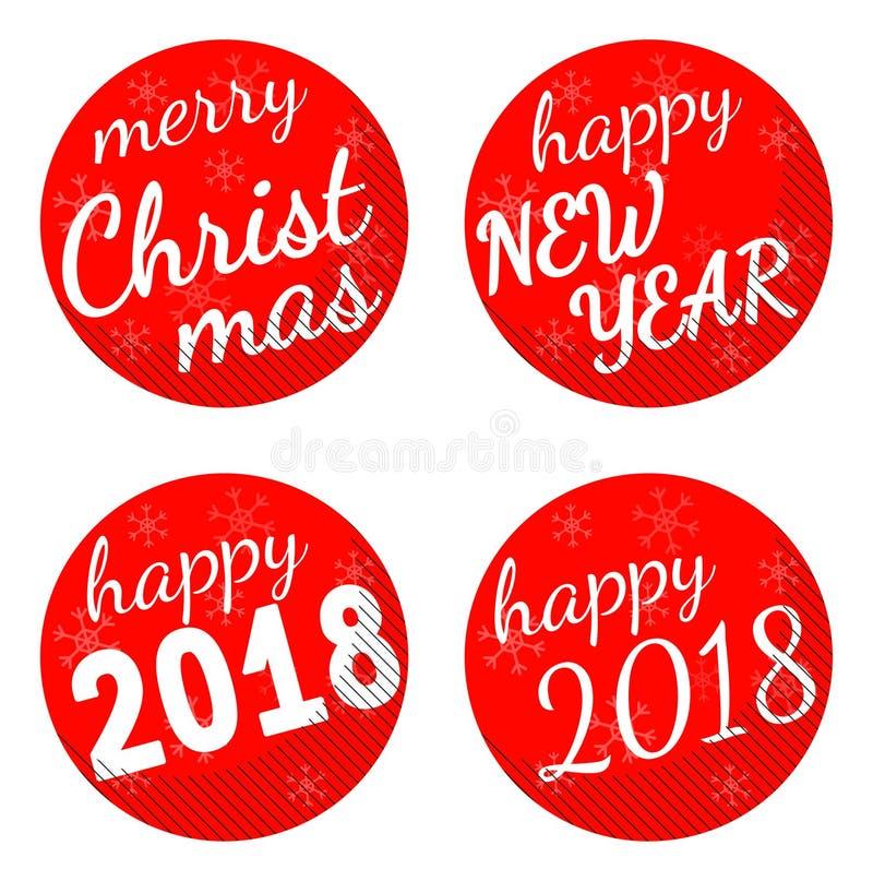 Jul och uppsättning för klistermärke för vektor för ferie för nytt år som 2018 themed isoleras på vit bakgrund vektor illustrationer