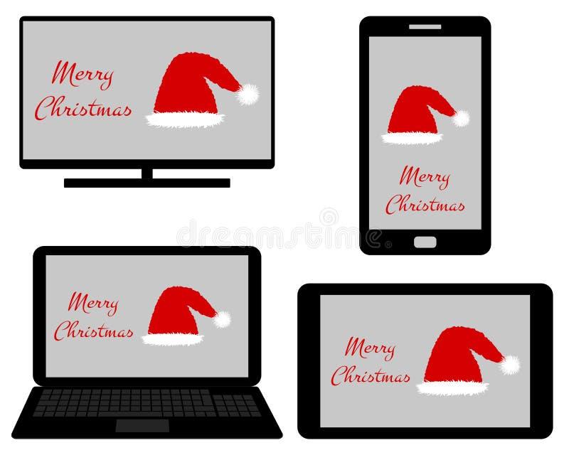 Jul på digitalt massmedia stock illustrationer