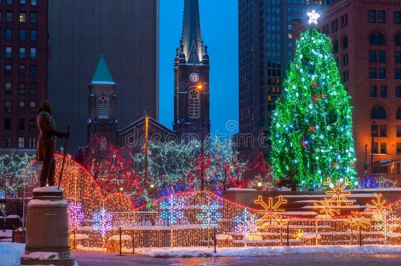 Jul på fyrkanten royaltyfri foto