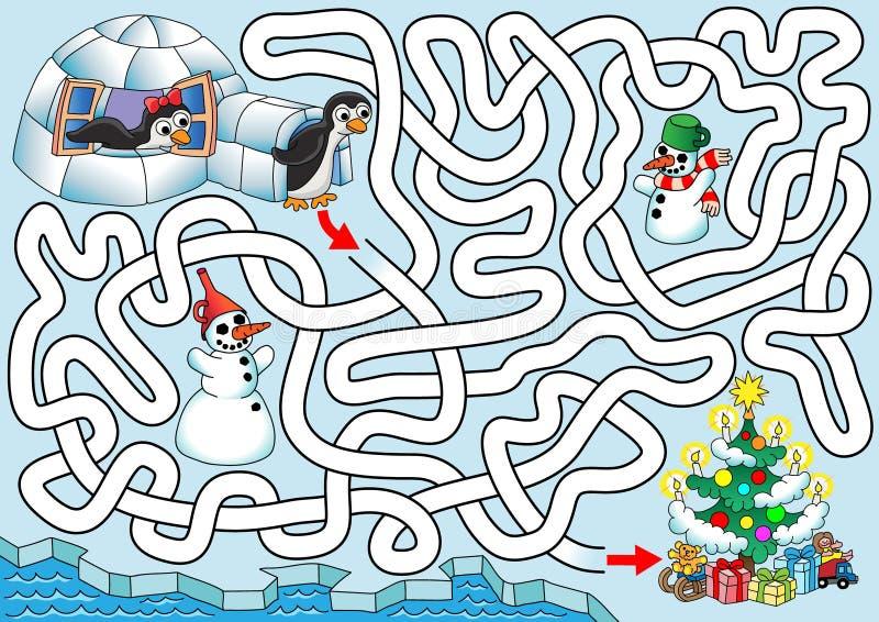 Jul på pingvin vektor illustrationer