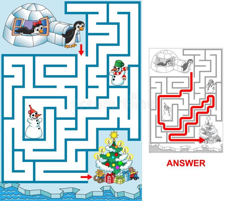 Jul på pingvin royaltyfri illustrationer