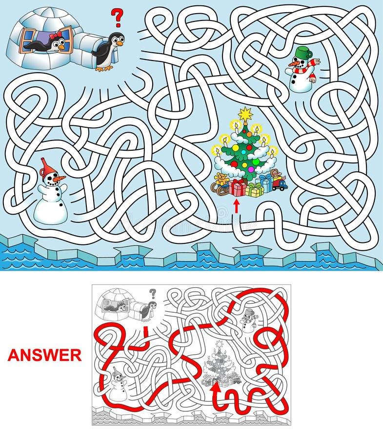 Jul på pingvin stock illustrationer