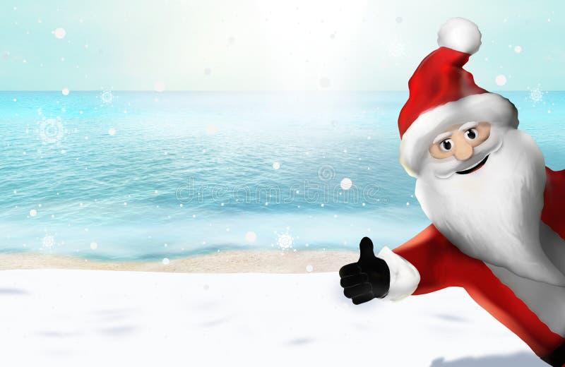 Jul på stranden Santa Claus Thumbs Up 3D framför stock illustrationer