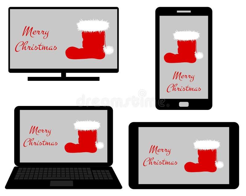 Jul p? digitalt massmedia royaltyfri illustrationer