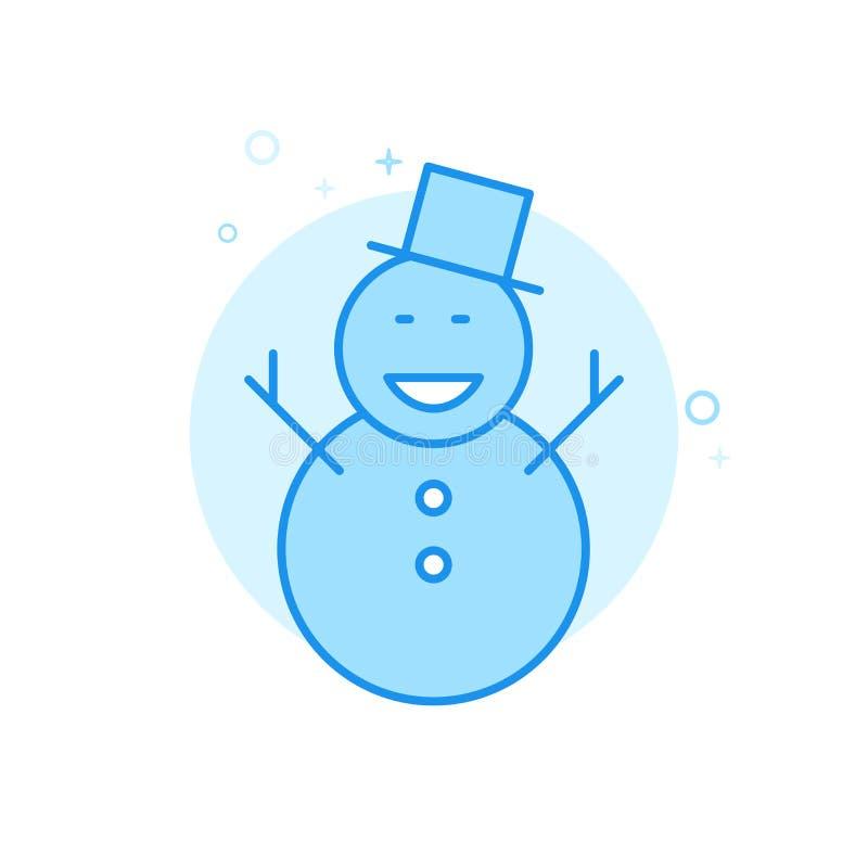 Jul plan vektorsymbol för lycklig snögubbe, symbol, Pictogram, tecken Ljust - blå monokrom design Redigerbar slaglängd royaltyfri illustrationer