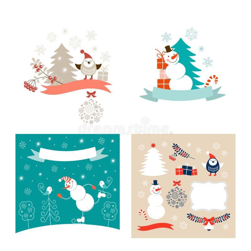 Jul planlägger kort för beståndsdelar och för nytt år hälsning vektor illustrationer
