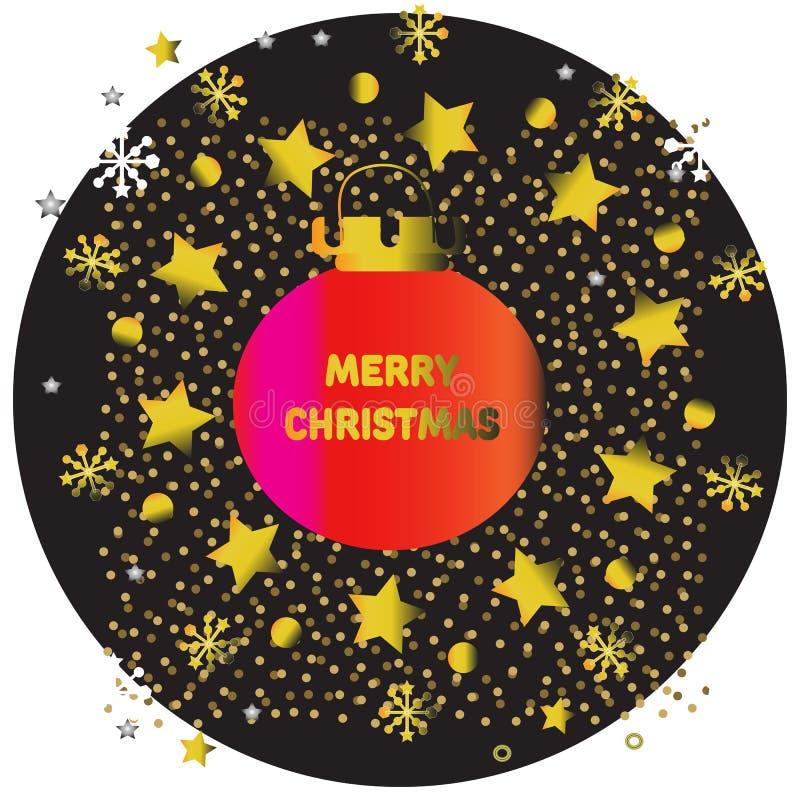 Jul planlägger mallen med julbollar och steg det guld- temat vektor illustrationer