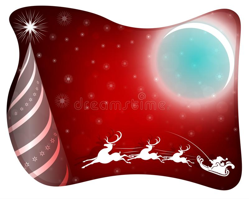 Jul planlägger med en vit ram, konturn av Santa Claus på en hjort och en abstrakt julgran stock illustrationer