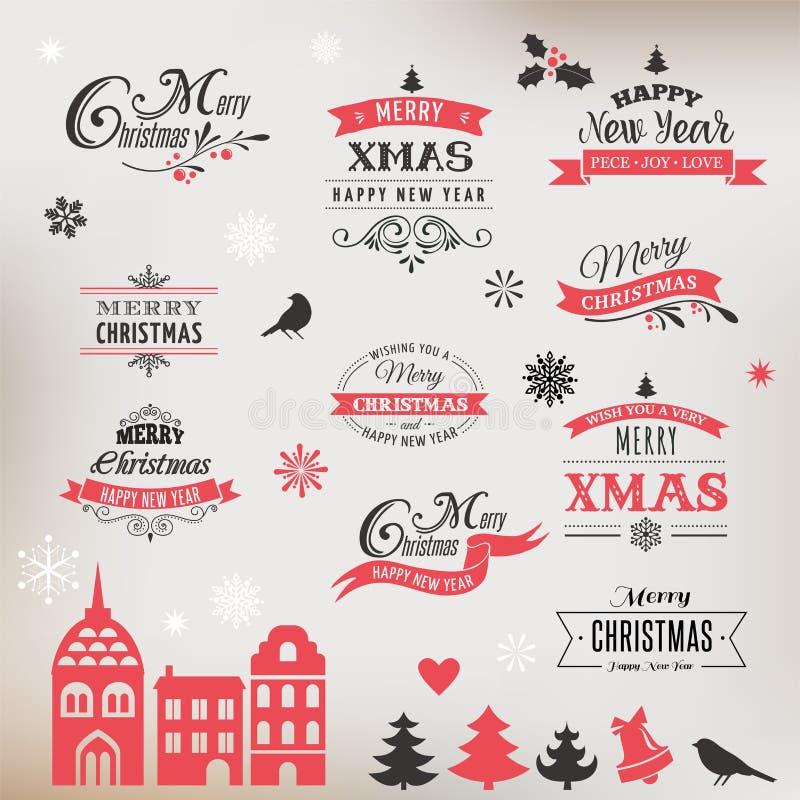 Jul planlägger samlingen, bokstäver och typografiska beståndsdelar vektor illustrationer