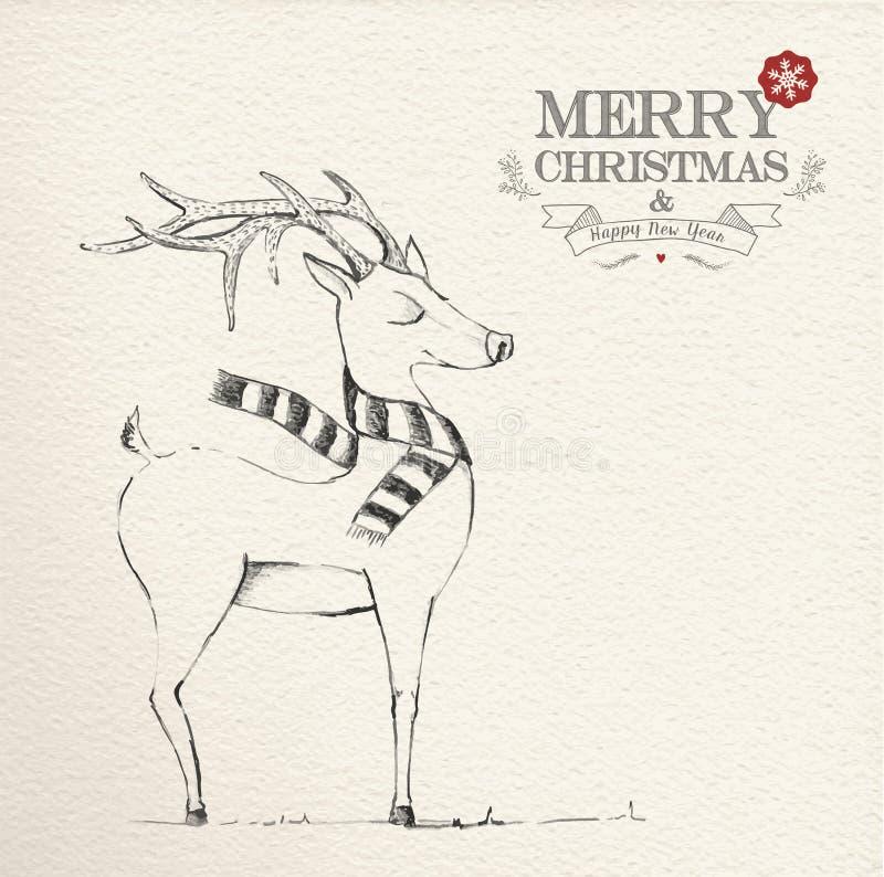 Jul räcker den utdragna unika renillustrationen stock illustrationer