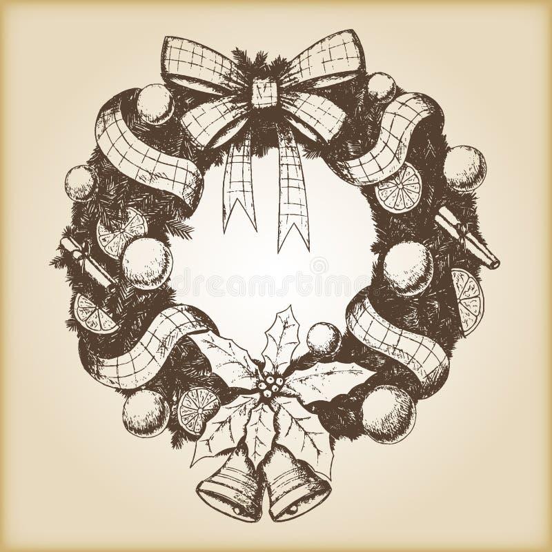 Jul räcker den utdragna vektorillustrationen - den dekorativa kransen skissar, tappningstil royaltyfri illustrationer