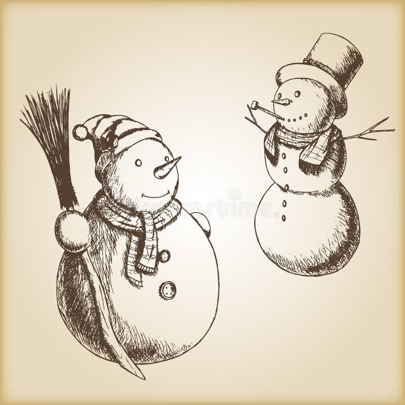 Jul räcker den utdragna vektorillustrationen - snögubben, tappningstil royaltyfri bild