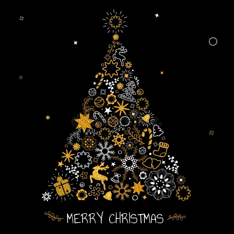 Jul räcker utdragen bokstäver Julgrangarnering, snöflingor, gåvor guld- blänka textur vinter för snow för pojkeferielay royaltyfri illustrationer