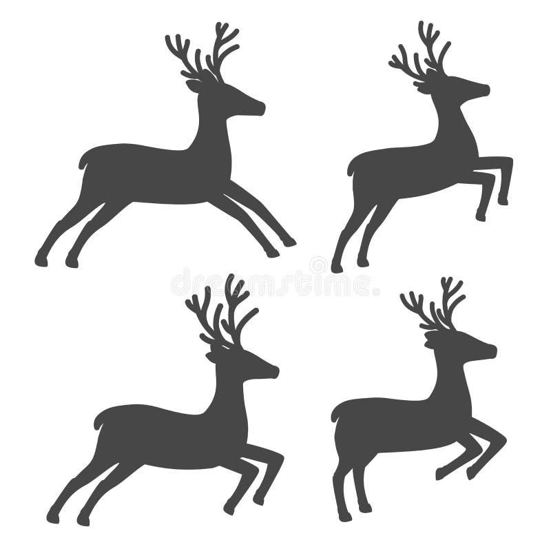 Jul ren, uppsättning på vit bakgrund royaltyfri illustrationer