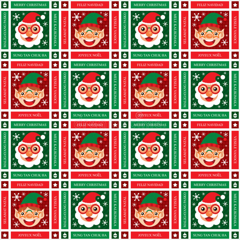 Jul sömlösa Santa Claus och älva stock illustrationer