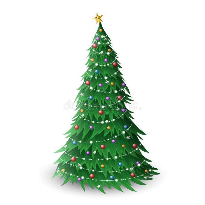 Jul sörjer trädillustrationen med färgrika bollar och stjärnagarnering och små ljus stock illustrationer