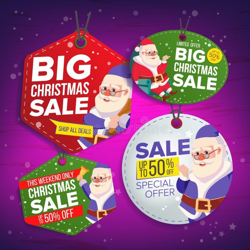 Jul Sale märker vektorn Plana klistermärkear för specialt erbjudande för jul claus santa Hängande Sale baner half pris modernt vektor illustrationer