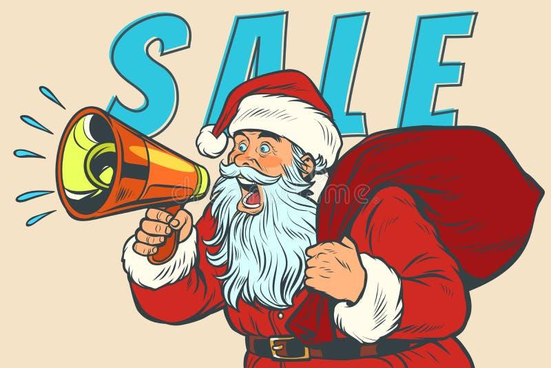 Jul Sale Santa Claus med megafonen royaltyfri illustrationer