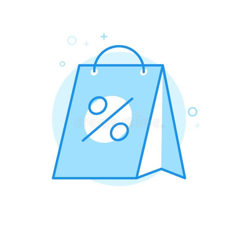 Jul Sale, symbol för vektor för shoppingpåse plan, symbol, Pictogram, tecken Ljust - blå monokrom design Redigerbar slaglängd royaltyfri illustrationer