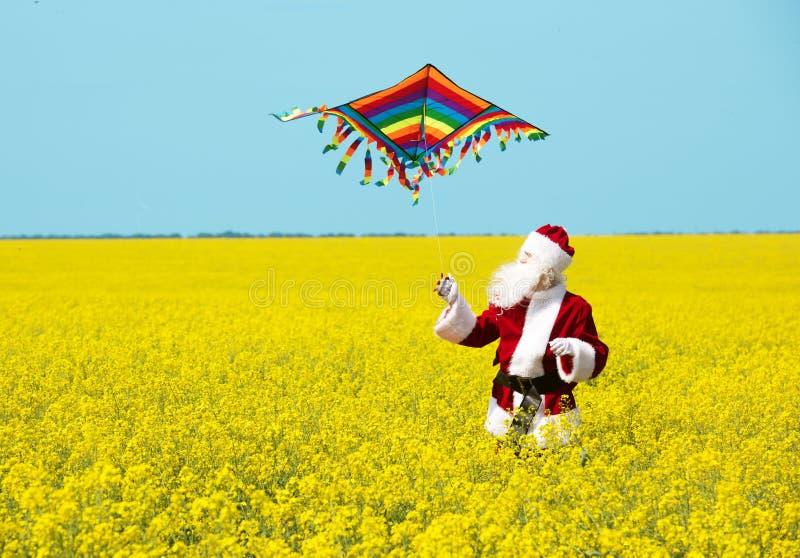 Jul Santa Claus att kasta en drake, i att blomma det gula fältet royaltyfri bild