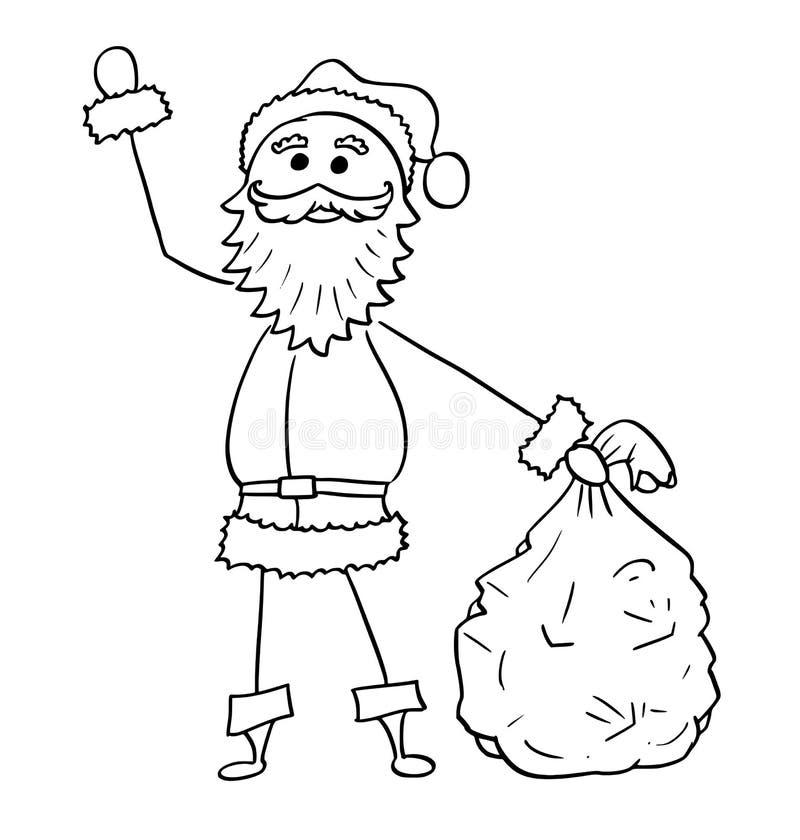 Jul Santa Claus med påsen av att vinka för gåvahand vektor illustrationer