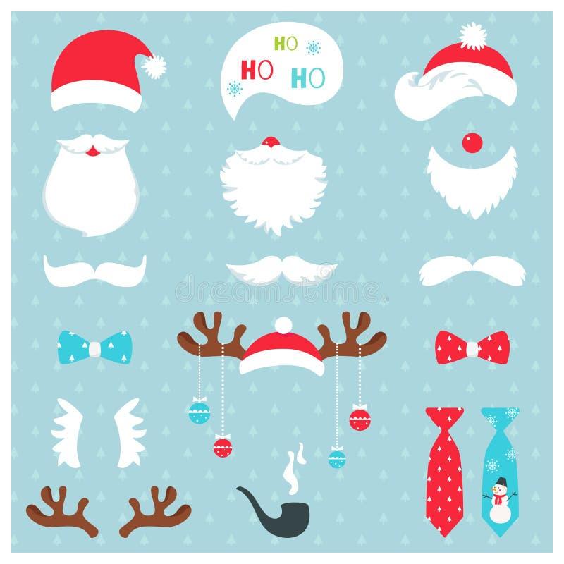 Jul Santa Claus och uppsättning för vektor för stöttor för renfotobås stock illustrationer